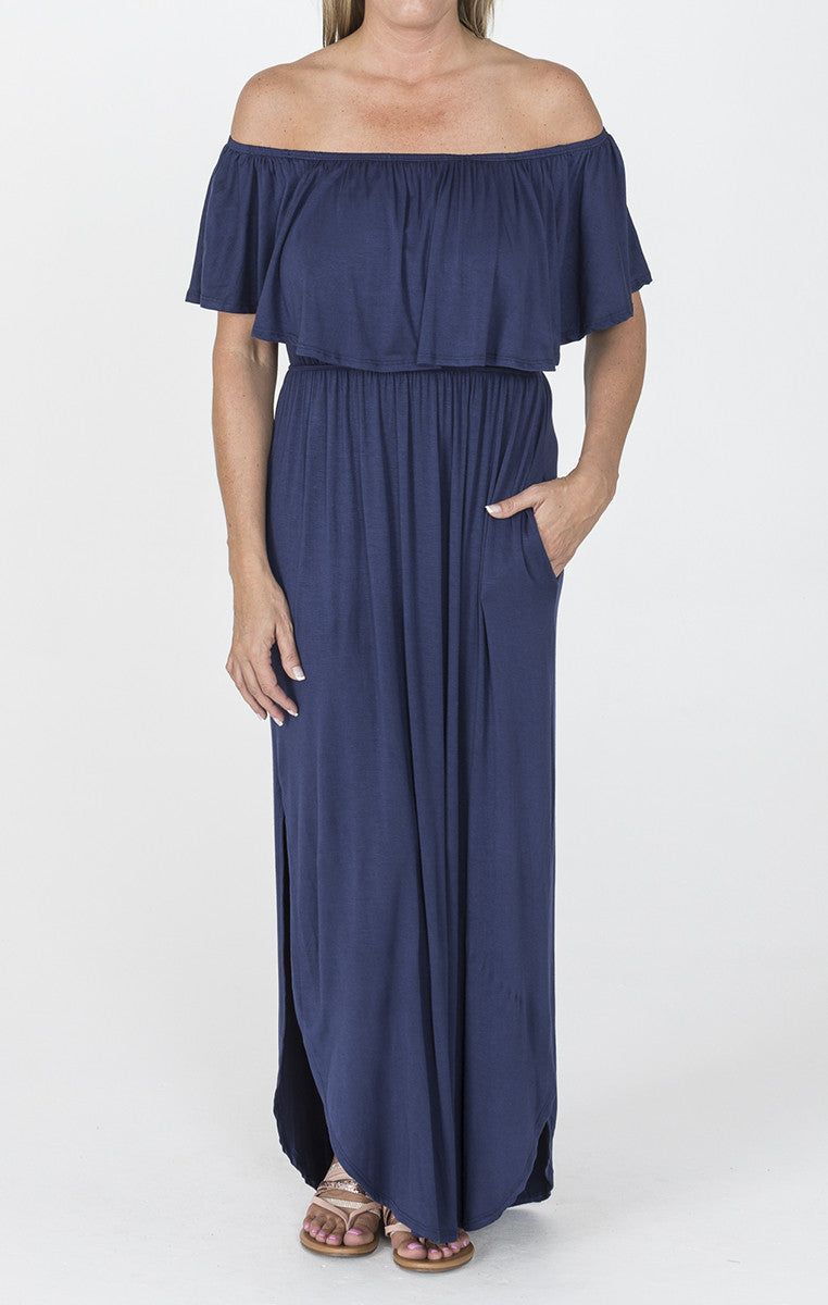Navy Off Shoulder Maxi - Troovi Finds, Dresses, Sweet Pea, Troovi Finds
