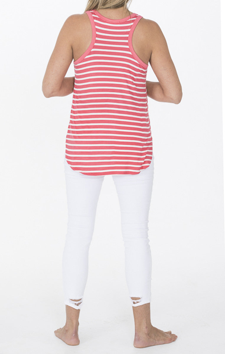 Stripe Sleeveless Jersey Tunic - Coral and Ivory - Troovi Finds, Tops, American Chic, Troovi Finds