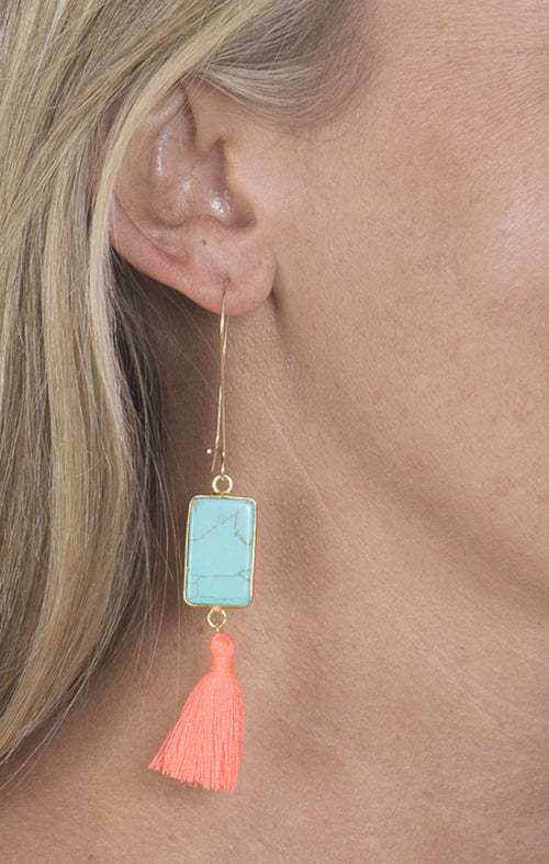 Turquoise Connector Earrings