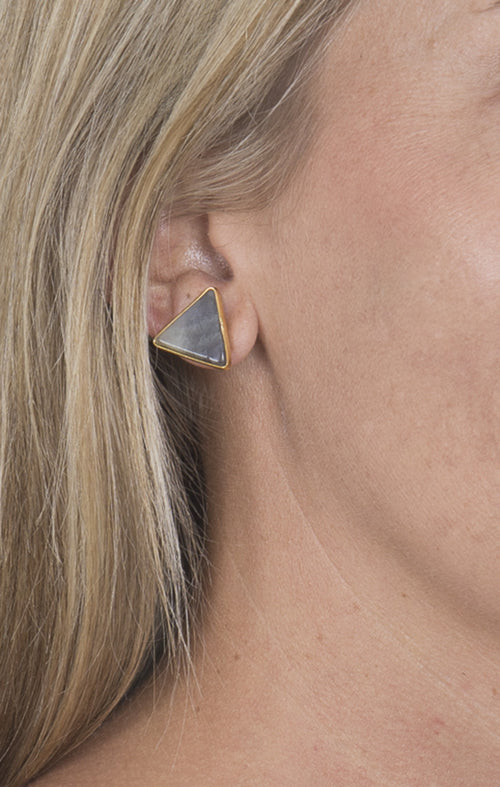 Gold Lined Triangle Earrings - Gray