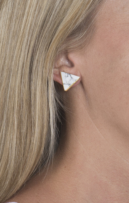 Gold Lined Triangle Earrings - White