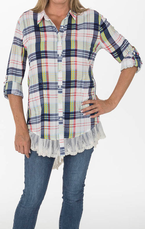 Plaid Tunic - Lace Trim