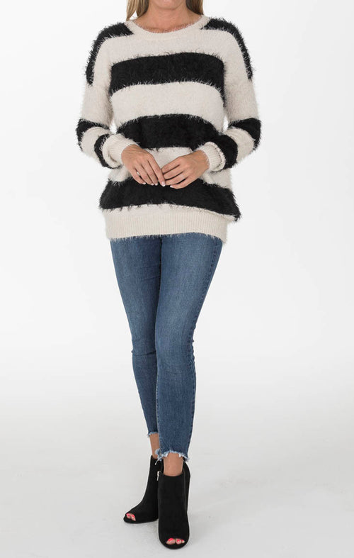 Black and Ivory Fuzzy Sweater