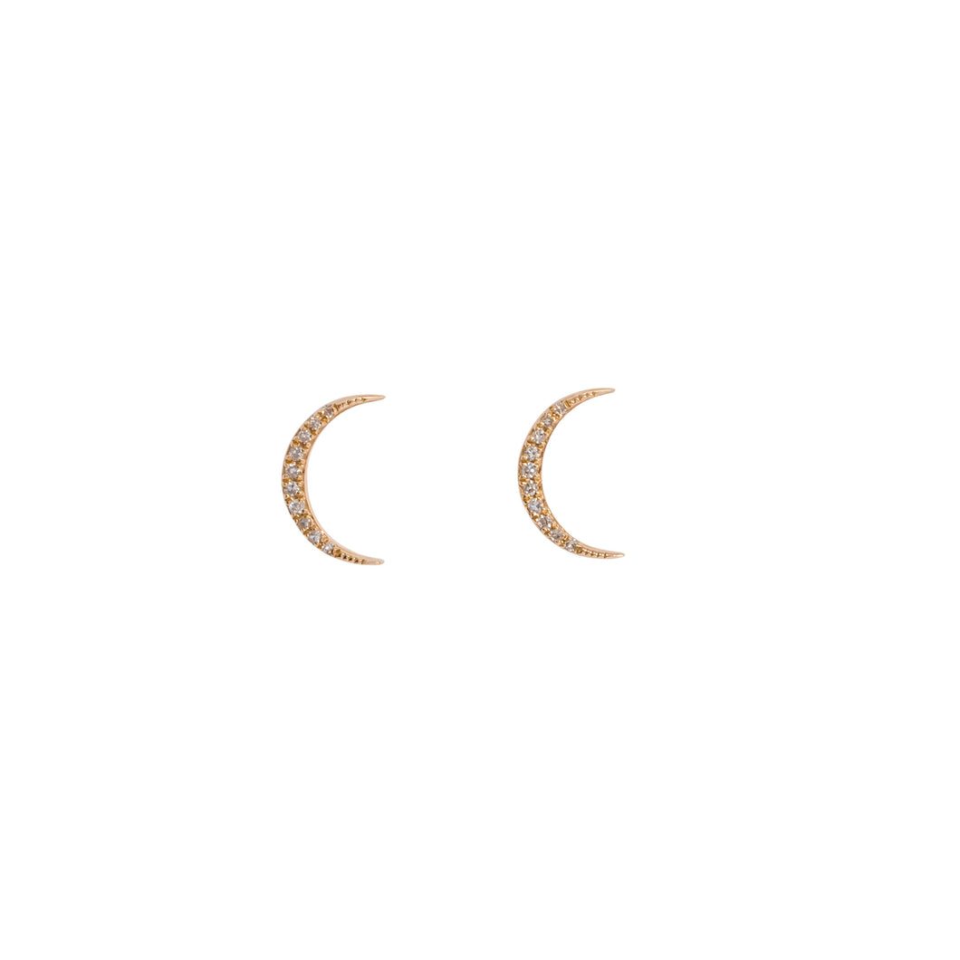 PAVE DIAMOND CRESCENT MOON EARRINGS