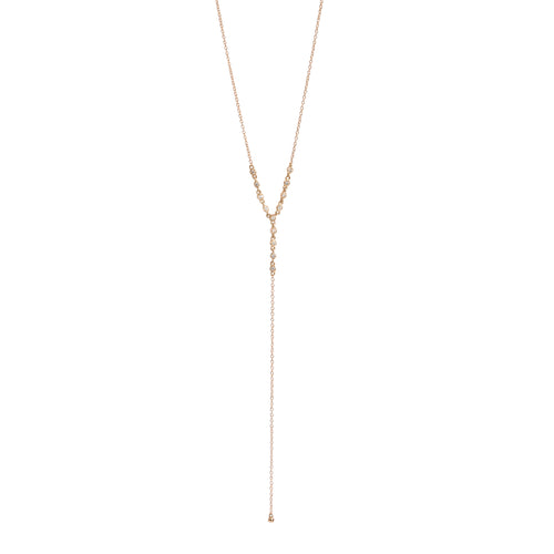 BEZELED DIAMOND LARIAT NECKLACE
