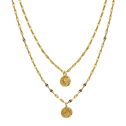 DOUBLE COIN SPARKLE CHAIN NECKLACE