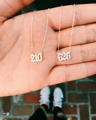 PERSONALIZED AREA CODE NECKLACE