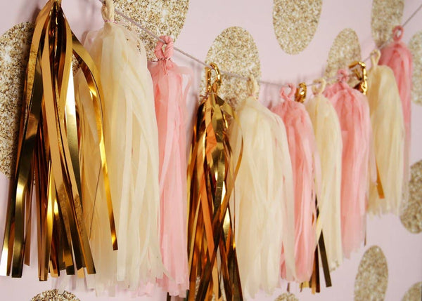 Twigs and Twirls - Blush Gold Classic Tassel Garland