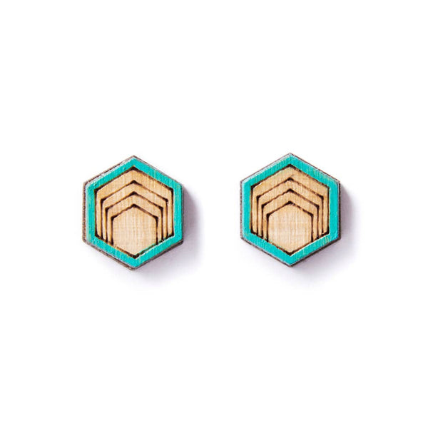 Hex Earring Studs - Teal