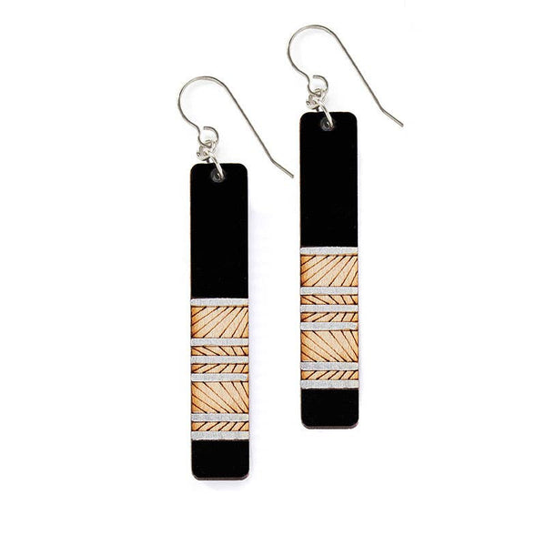 Black lines wood Earrings