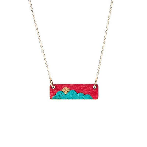 Treeline and Tide - Necklace - Waves Red