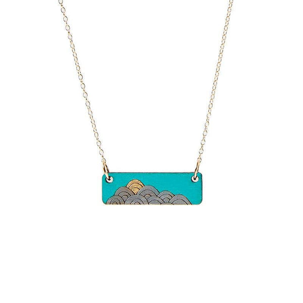 Bar wood necklace - Waves Teal