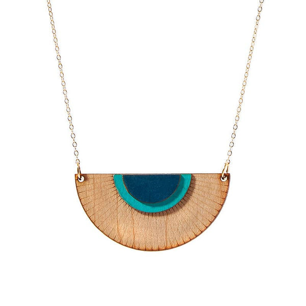 Blue Solaris Wood Necklace