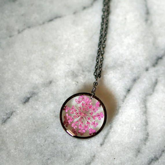 Pink Queen Anne's Lace Flower Necklace