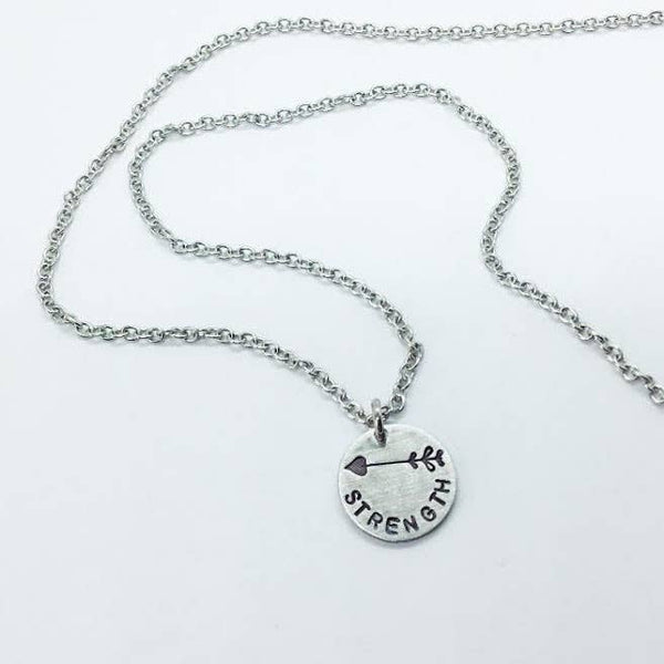 Jamie Haley Designs - Strength small stamped pendant necklace