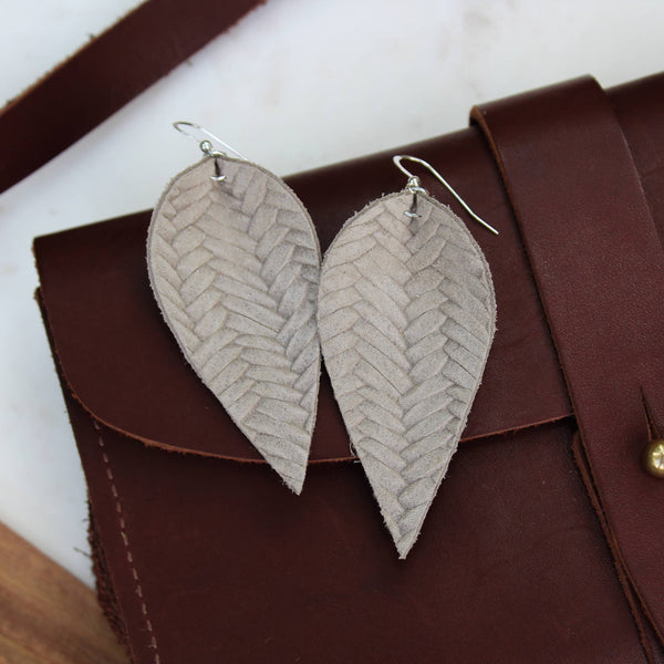 A New Grace - Warm Grey Braided Leaf Earrings