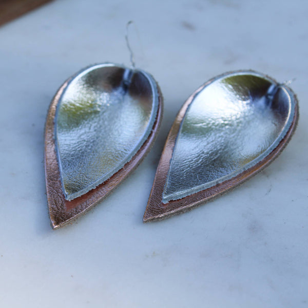 A New Grace - Silver on Rose Gold Leather Leaf Earrings