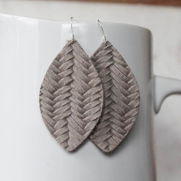 A New Grace - Warm Grey Braided Petal Earrings