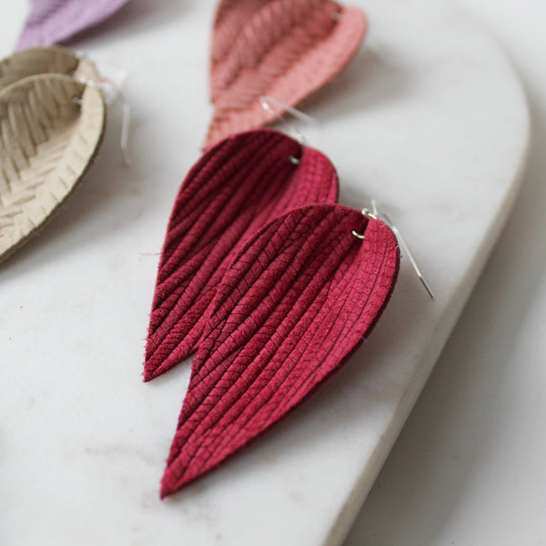 A New Grace - Raspberry Weave Leaf Earrings