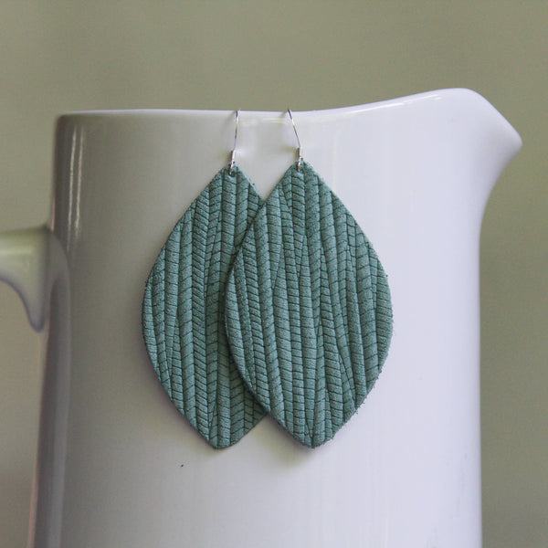 A New Grace - Seafoam Weave Petal Earrings