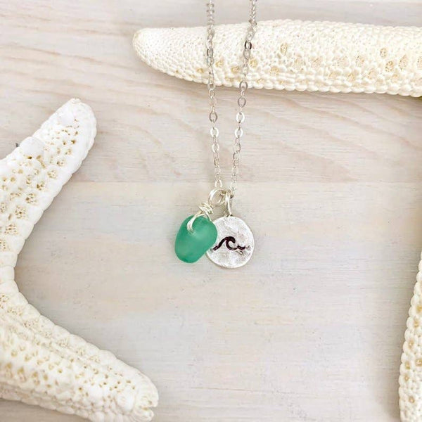 Lani Makana - Wave Sea Glass Charm Necklace