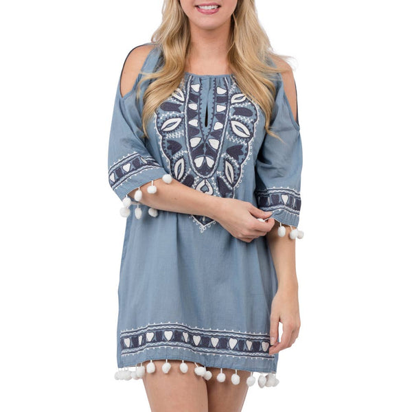 Top It Off - Arrowhead Tunic-Indigo
