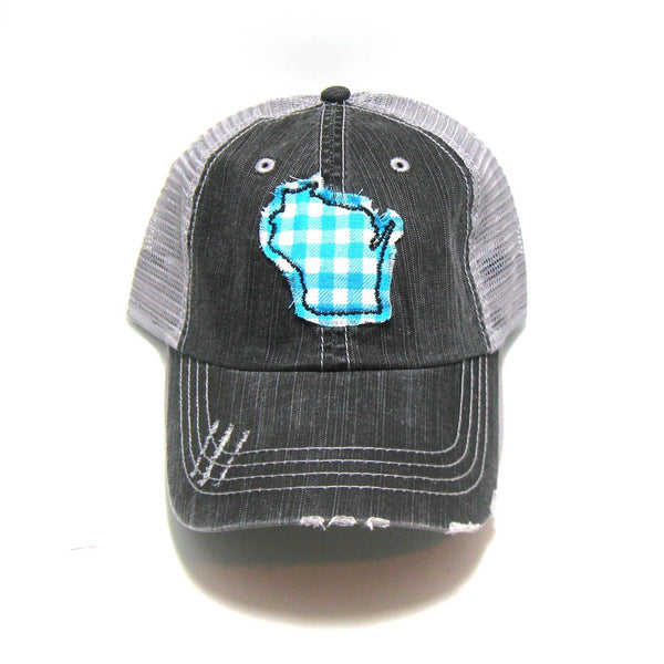 Gracie Designs - Aqua and White Gingham Fabric State - Trucker Hat