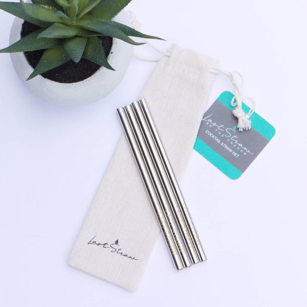 Last Straw - Cocktail Straw Set-4pc Silver