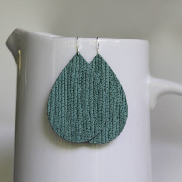 Seafoam Weave Leather Teardrop Earrings
