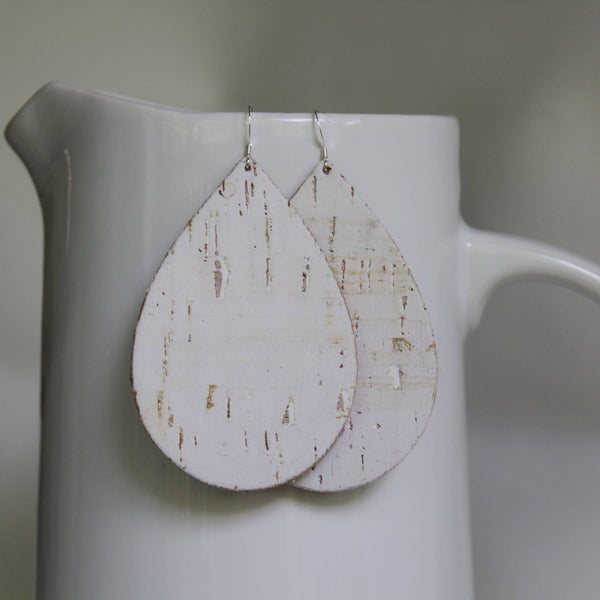 Cork Teardrop Earrings - white