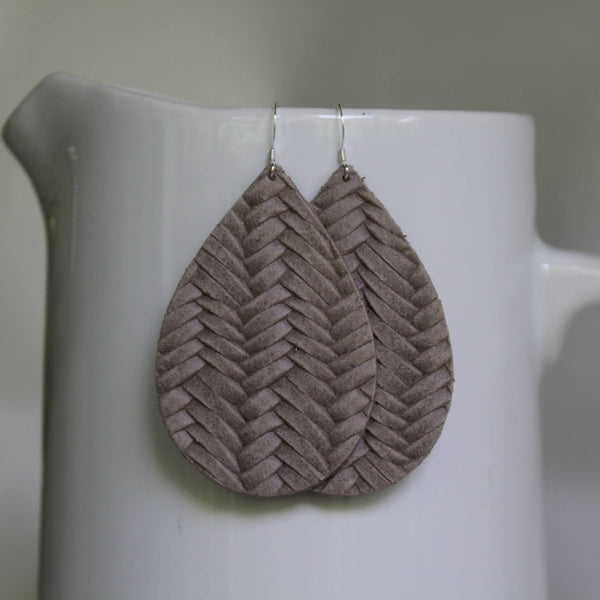 A New Grace - Warm Grey Braided Teardrop Earrings