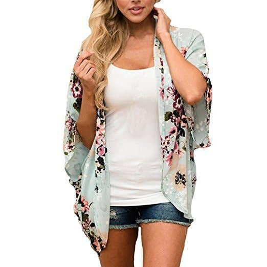 Asher & Emery - Green Sheer Printed Cardigan