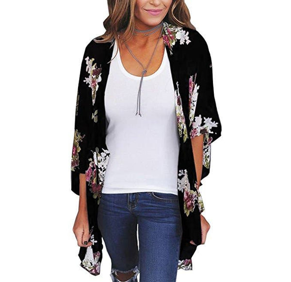 Asher & Emery - Black & White Sheer Printed Cardigan