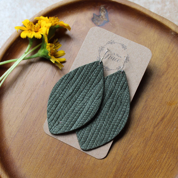 A New Grace - Olive Green Weave Petal Earrings