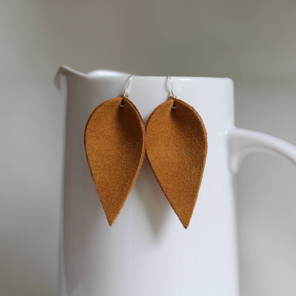 A New Grace - Golden Yellow Suede Leaf Earrings