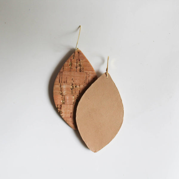 A New Grace - Natural Cork with Gold Petal Earrings
