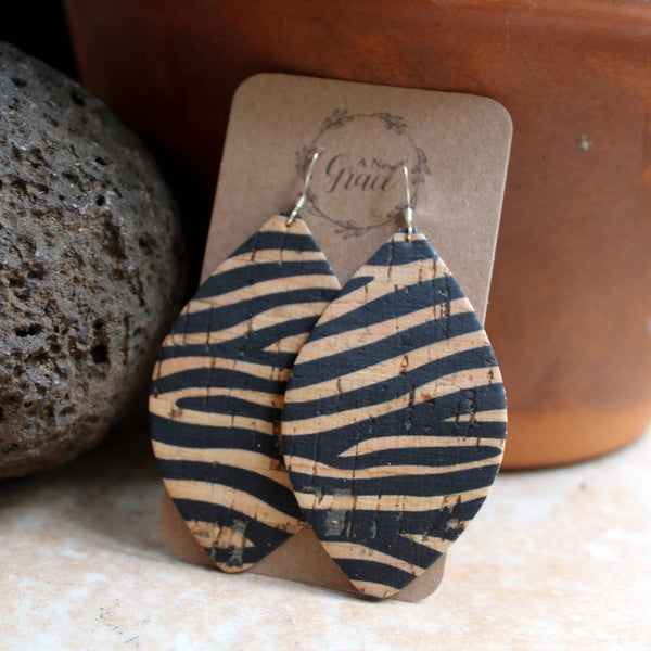 A New Grace - Striped Cork Petal Earrings