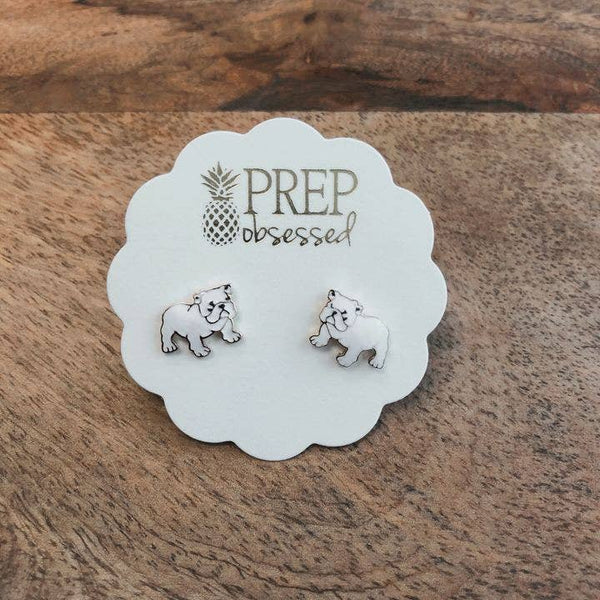 Bulldog Enamel Stud Earrings