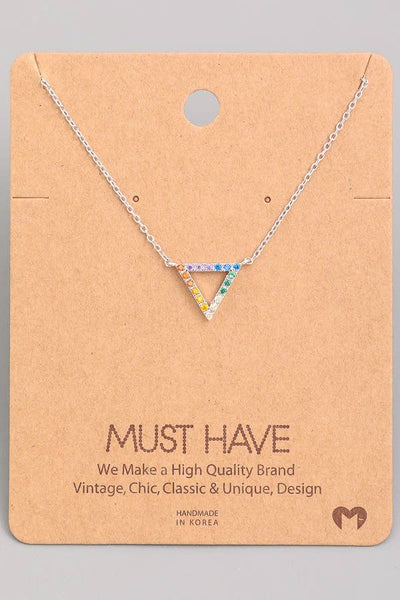 Fame Accessories - Rainbow Studded Triangle Pendant Necklace