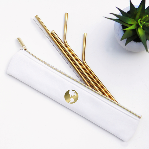 Last Straw - Gold Earth Straw Set Waterproof Lined Bag - 6 Pieces