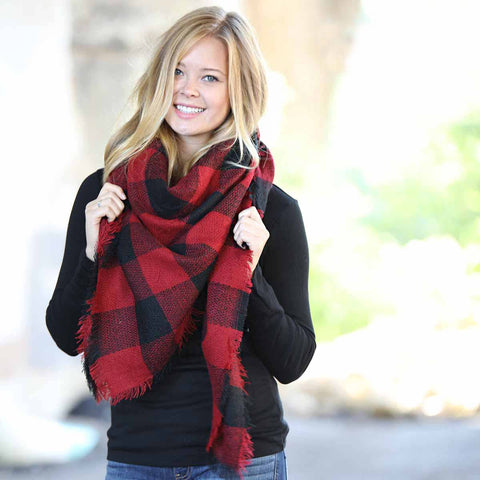 Funky Monkey Fashion - Blanket Scarf Collection - Red/Black Buffalo Check