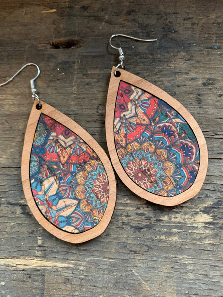 Jill's Jewels - Wood Teardrop Earrings with Blue and Pink Flower Cork