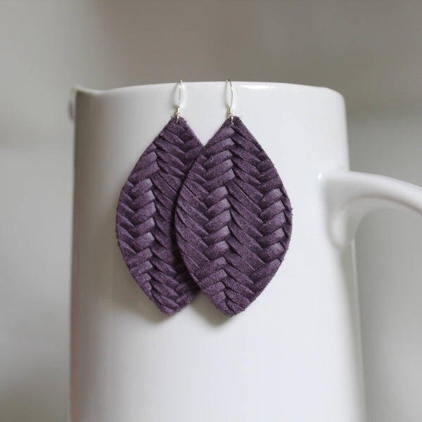 A New Grace - Heather Purple Braided Petal Earrings