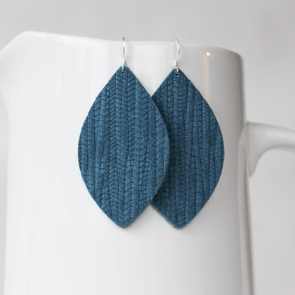 A New Grace - Teal Weave Petal Earrings