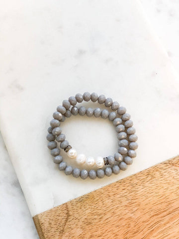 Carly Grey Beaded Pearl Stretch Wrap Bracelet