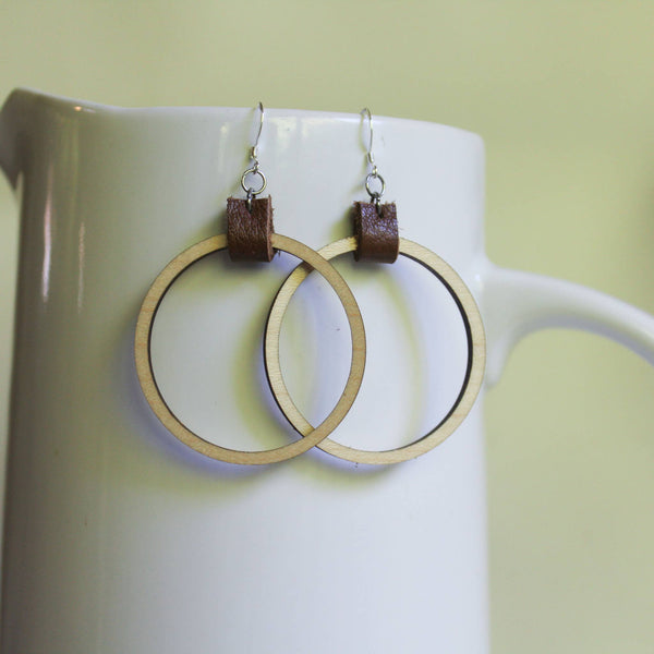 A New Grace - Wood and Leather Hoop Earrings