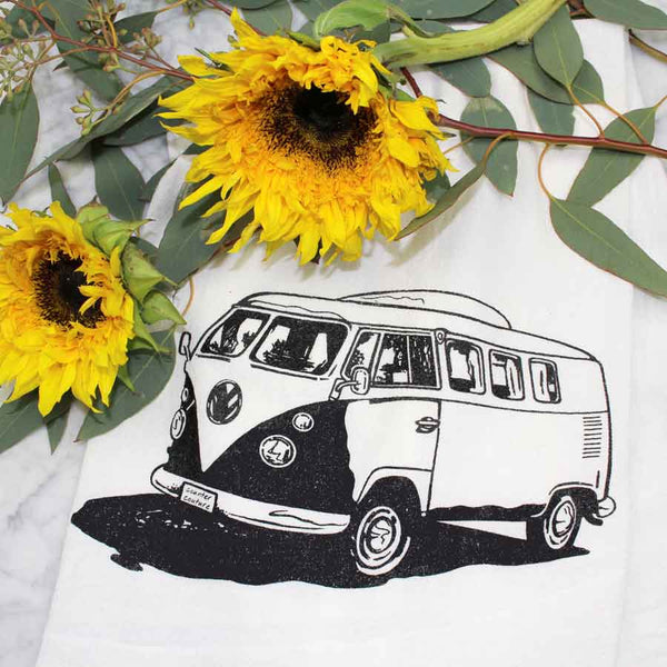 VW Retro Bus Flour Sack Tea Towel