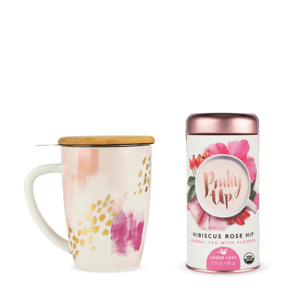 Pinky Up - Bailey Pink Abstract Mug and Tea Set by Pinky Up