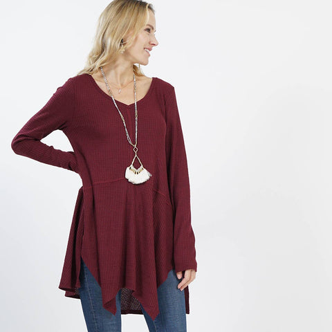 Merlot V-Neck sidetail patch tunic - small