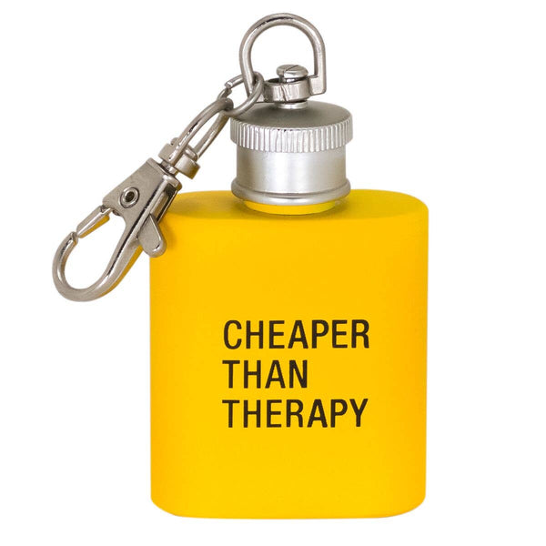 About Face Designs - Cheaper than Therapy Key Ring Flask
